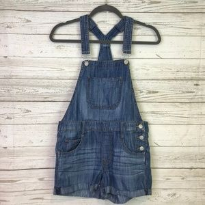 Express overalls denim 0 blue side button shorts
